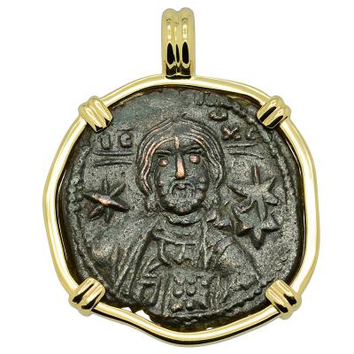 1071-1078 Jesus Christ coin in gold pendant