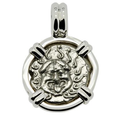480-450 BC Gorgon drachm coin in white gold pendant