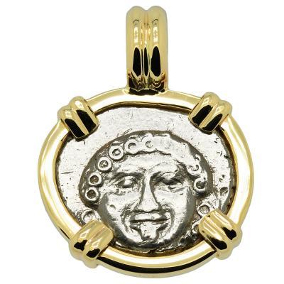 400-300 BC Gorgon drachm coin in gold pendant