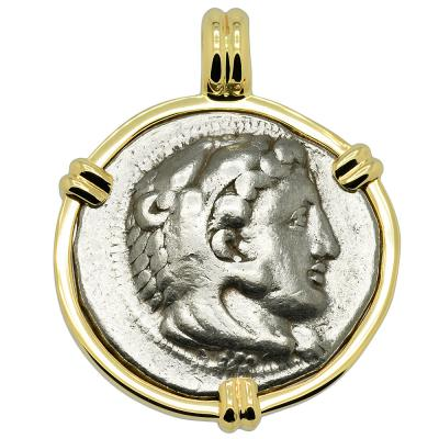333-327 BC Alexander the Great tetradrachm in gold pendant