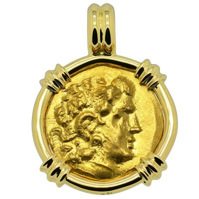 88-86 BC, Alexander the Great stater in 18k gold pendant