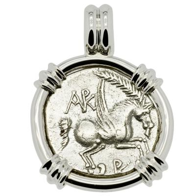 Pegasus with palm frond coin in white gold pendant