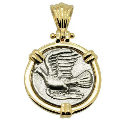 330-280 BC, Dove triobol coin in gold pendant