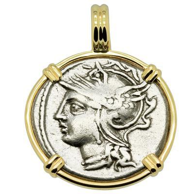 104 BC Roma denarius coin in gold pendant