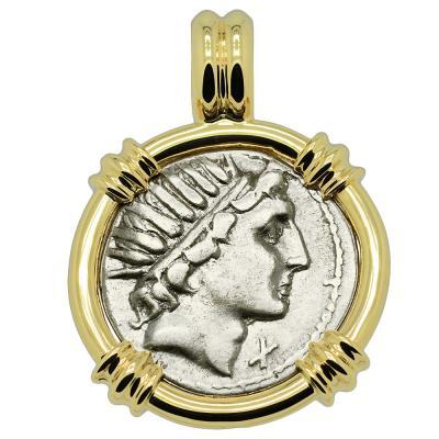 109-108 BC, Sol Sun God coin in gold pendant