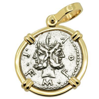 120 BC Janus denarius coin in gold pendant