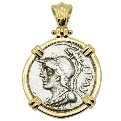 Roman 100 BC Minerva coin in gold pendant