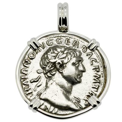 AD 103-112, Trajan denarius coin in white gold pendant