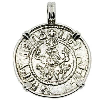 Armenia King Levon I coin in white gold pendant