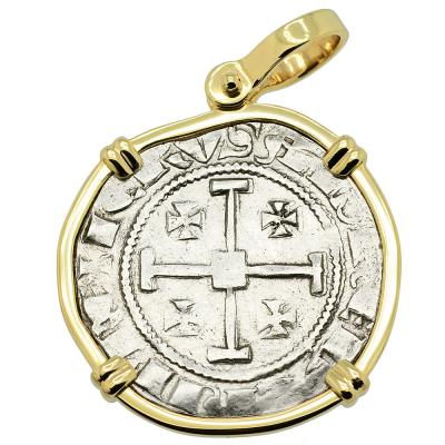 1324-1340 Cyprus Crusader coin in gold pendant