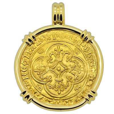 Charles VI Ecu d'or a la Couronne in 18k gold pendant