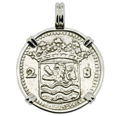 1730 Dutch 2 stuivers in white gold pendant
