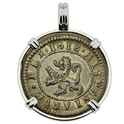 4 maravedis dated 1618 in white gold pendant