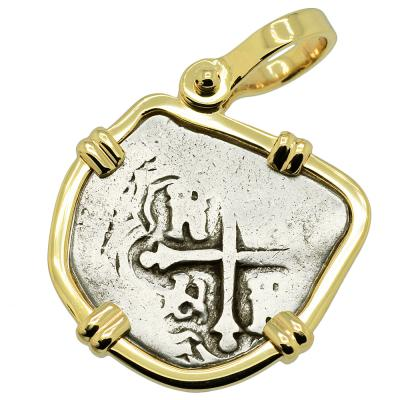 1700-1723 Spanish 1 real coin in gold pendant