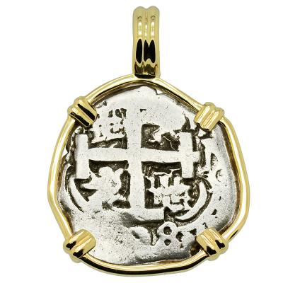 1738 Spanish 1 real coin in gold pendant