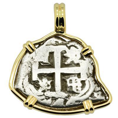 1748 Spanish cob coin in gold pendant