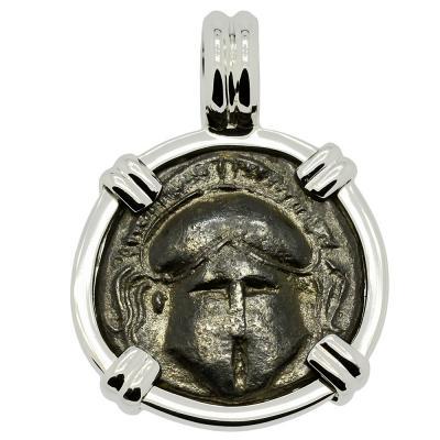400-350 BC, Corinthian Helmet bronze coin in white gold pendant