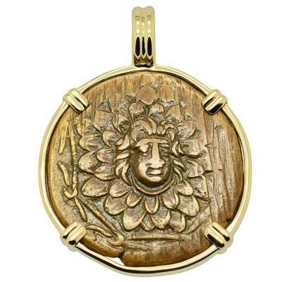 120-63 BC Medusa bronze coin in gold pendant