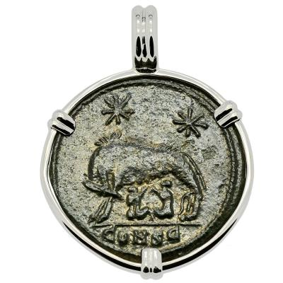 AD 330-336 She-Wolf Suckling Twins coin in white gold pendant