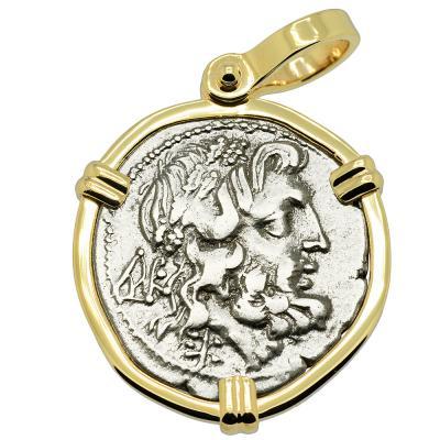 232-168 BC Zeus drachm coin in gold pendant
