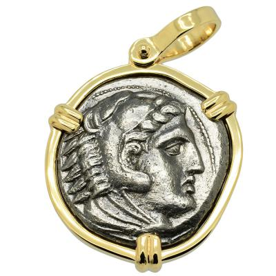 325-320 BC Alexander the Great tetradrachm in gold pendant