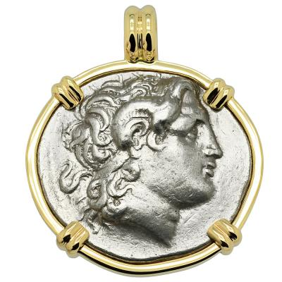 297-286 BC, Alexander the Great coin in gold pendant