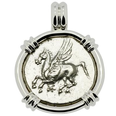 350-300 BC Pegasus stater coin in white gold pendant