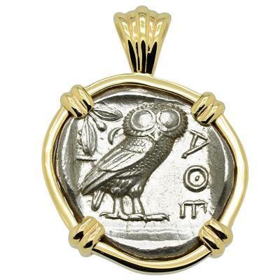 454-404 BC Owl tetradrachm coin in gold pendant