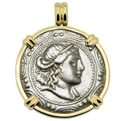 167-149 BC Artemis tetradrachm in gold pendant