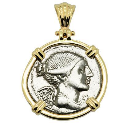 108-107 BC Victory denarius in gold pendant