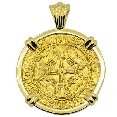 Louis XI Ecu d'or a la Couronne in 18k gold pendant