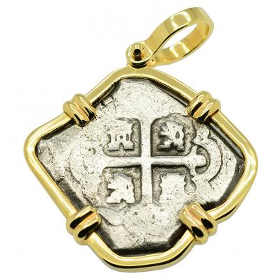 SOLD Rooswijk Shipwreck 4 Reales Pendant. Please Explore Our Spanish Treasure Pendants For Similar Items.