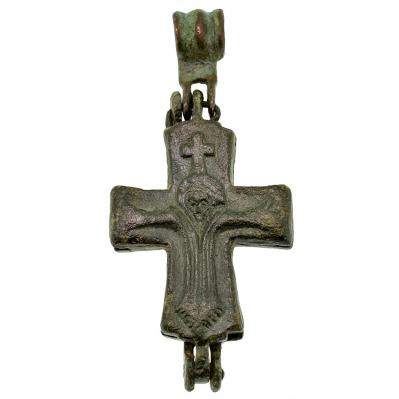 Byzantine Enkolpion Bronze Cross Pendant