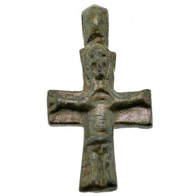 Byzantine Jesus & Mary Bronze Cross Pendant