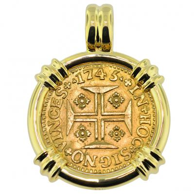 1745 portuguese gold cross 1000 reis coin jewelry sold portuguese 1000 reis pendant please explore our gold coin pendants for similar items aloadofball Images