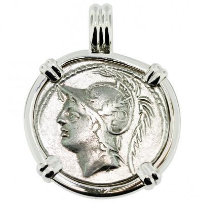 SOLD Mars Denarius Pendant. Please Explore Our Roman Pendants For Similar Items.