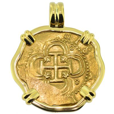 SOLD Philip II Two Escudo Doubloon Pendant