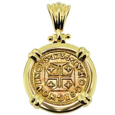 1736 portuguese gold cross coin pendant sold portuguese 400 reis pendant please explore our gold coin pendants for similar items aloadofball Images