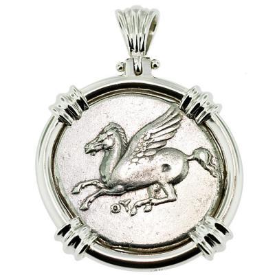 Genuine ancient greece pegasus stater coin pendant sold pegasus athena stater pendant please explore our greek pendants for similar items audiocablefo