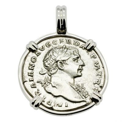 Roman Trajan coin in white gold pendant