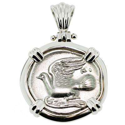 Authentic 300 bc greece dove triobol coin pendant sold sikyon dove triobol pendant please explore our greek pendants for similar items audiocablefo