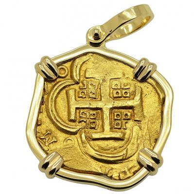 SOLD King Philip IV Four Escudos Pendant; Please Explore Our Spanish Treasure Coin Pendants For Similar Items.