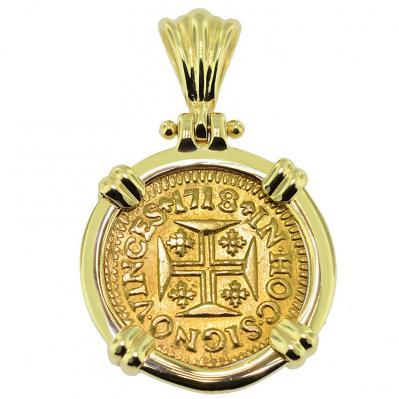 1718 portuguese 400 reis gold cross coin pendant portuguese 400 reis pendant aloadofball Choice Image