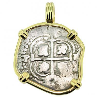 SOLD King Philip IV Spanish 1 Real Pendant; Please Explore Our Spanish Treasure Pendants For Similar Items.
