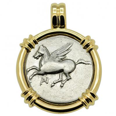 SOLD Pegasus and Athena Stater Pendant. Please Explore Our Greek Pendants For Similar Items.