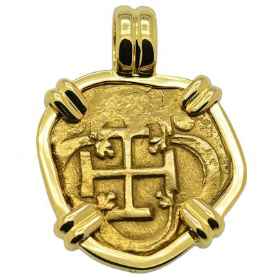 SOLD King Philip III Two Escudos Doubloon Pendant; Please Explore Our Spanish Treasure Pendants For Similar Items.