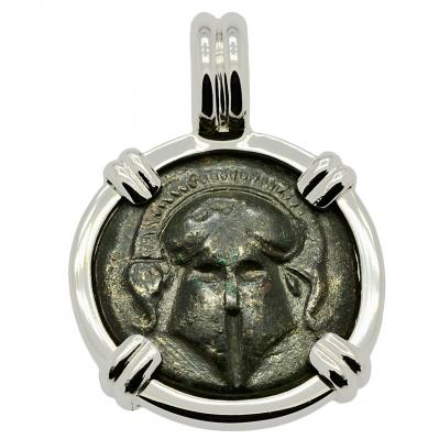 Greek Helmet Bronze Coin Pendant
