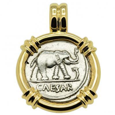 SOLD Julius Caesar Denarius Pendant. Please Explore Our Roman Pendants For Similar Items.
