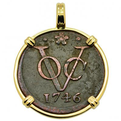 SOLD Dutch VOC Duit Pendant. Please Explore Our Colonial European Pendants For Similar Items.