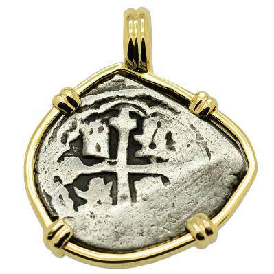 SOLD Spanish 1715 Fleet Shipwreck 1 Real Pendant. Please Explore our Spanish Shipwreck Pendants for Similar Items.